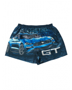 Ford Mustang GT Blue Satin Boxer Shorts