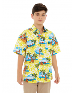 Lowes Kids Yellow Beach BBQ Print Hawaiian Shirt