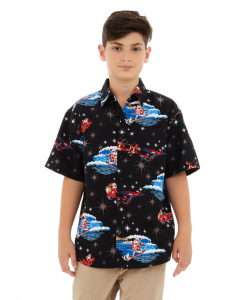 Lowes Kids Surfing Santa Black Hawaiian Shirt