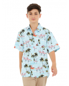 Lowes Kids Aqua Christmas Hawaiian Print Shirt