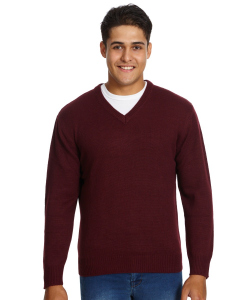 Lowes Burgundy Acrylic Jersey Knit V-Neck Pullover | Lowes | Knitwear | Lowes