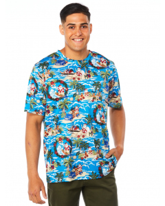 Lowes Blue Island Santa Hawaiian Print T-Shirt