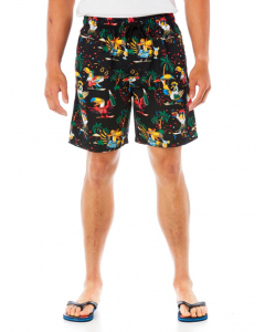 Lowes Black Party Print Elastic Waist Shorts