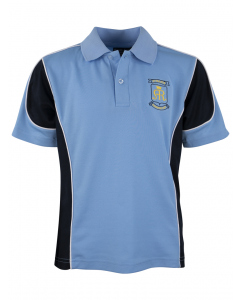 Sky & Navy Sports Polo With Embroidery