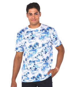 Lowes White & Blue Island Print T-Shirt