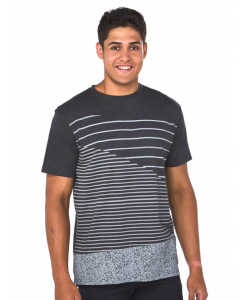 Lowes Charcoal Asymmetrical Stripe Print T-Shirt