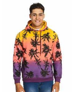 Prodigy Multi Tie Dye Palm Printed Popover Hoodie