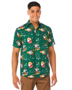 Lowes Green Santa Hawaiian Print Shirt