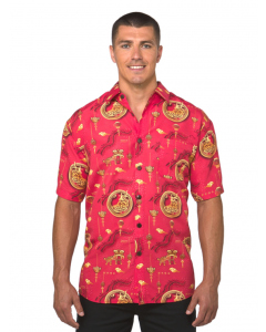 Lowes Red Chinese New Year Print Hawaiian Shirt