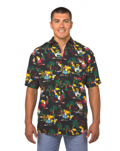 Lowes Black Party Print Hawaiian Shirt