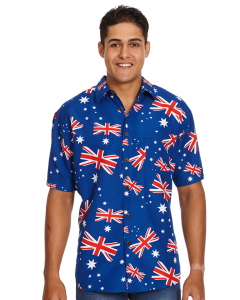 Lowes Blue Australian Flag Print Hawaiian Shirt