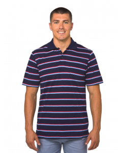 Lowes Royal Blue & Berry Red Stripe Knit Polo