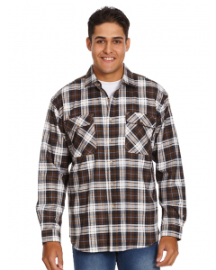 Lowes Brown & White Check Flannelette Shirt