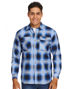 Lowes Cobalt & Black Check Flannelette Shirt