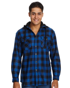 Lowes Blue & Black Check Detachable Hood Shirt