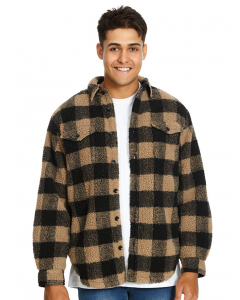 Lowes Fawn & Black Check Borg Fleece Top