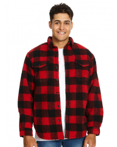 Lowes Red & Black Check Borg Fleece Top