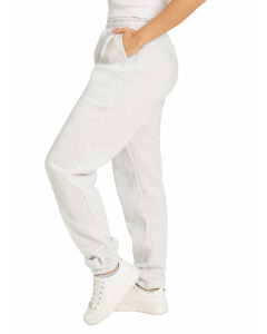Lowes Unisex White Marle Knitted Fleece Trackpants