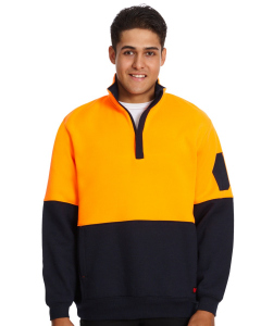 Traders 308 Orange Hi Vis Quarter Zip Top