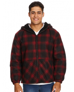 Lowes Red Check Sherpa Hooded Zip Thru Jacket