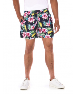 Riley Adams Navy Hibiscus Hawaiian Swim Shorts