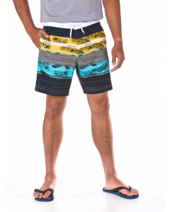 Riley Adams Black Feather Swim Shorts