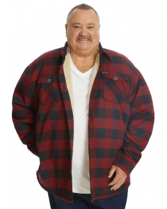 DBK Red Check Button Up Sherpa Jacket