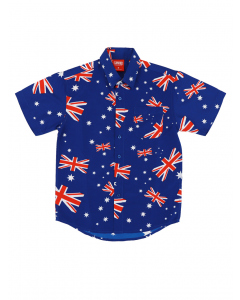 Lowes Kids Blue Australian Flag Hawaiian Shirt
