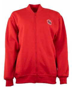 Red Fleece Jacket With Embroidery
