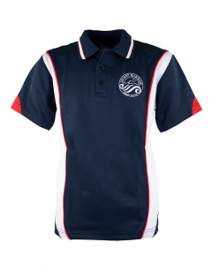 Navy/White/Red Polo With Crest