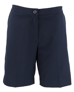 Navy Tailored Shorts With Embroidery