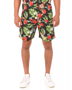 Lowes Black Pineapple & Beer Elastic Waist Shorts