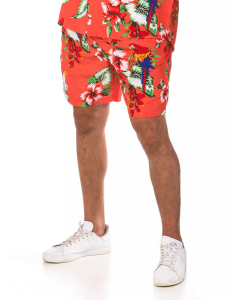 Lowes Coral Cockatoo Print Elastic Waist Shorts