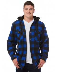 Lowes  Blue & Black Check Detachable Hood Shirt | Lowes | Fleece | Lowes