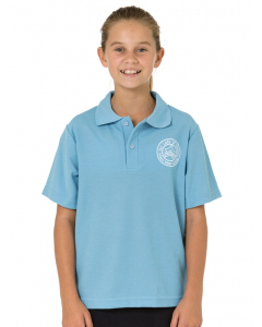 Mid Blue Sports Polo With Embroidery