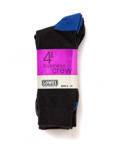 Lowes Business Crew Socks Black Neutral 4 Pack