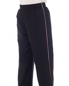 Black Microfibre Track Pant With Embroidery