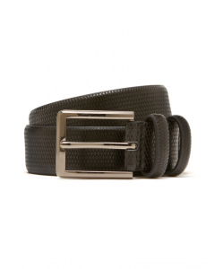 Traders Embossed Black Split Leather Belt
