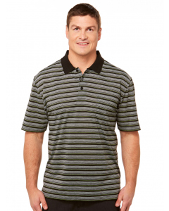 Lowes Knitted Yarn Dyed Black Striped Polo