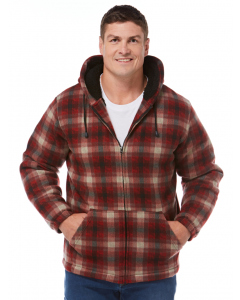 Lowes Red & Grey Check Sherpa Hooded Jacket