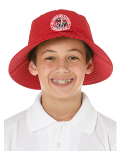 Red Bucket Hat With Embroidery