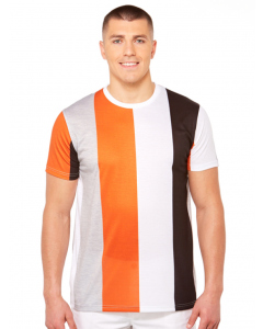 Riley Adams Orange Black & White Stripe T-Shirt