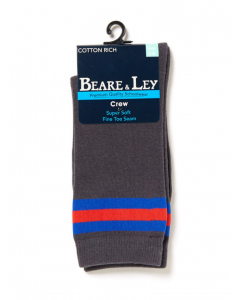 Grey Socks with Royal & Red Stripes