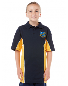 Navy/Gold SS Sports Polo With Embroidery