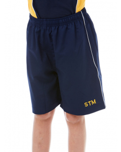 Navy Sport Shorts With White Piping