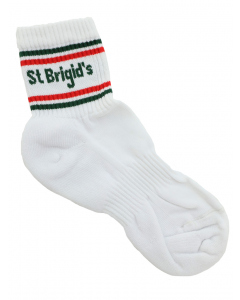 White Sport Socks With Stripes & Lettering