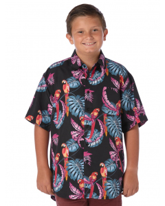 Lowes Kids Black Exotic Parrot Hawaiian Shirt