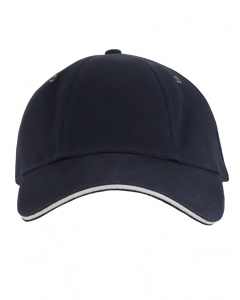 Navy Cap With White Piping