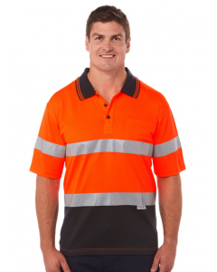 Traders Orange & Navy Taped Short Sleeve Polo | Traders | Shirts | Lowes