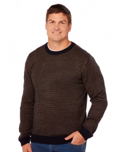 Prodigy Navy Crew Neck Knitted Pattern Pullover | Prodigy | Knitwear | Lowes